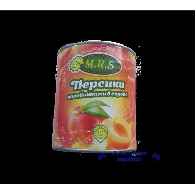 Персики половинками в сиропе (M.R.S.) отборные, 820 гр.