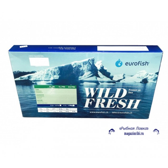 Филе трески без кожи проложенное 450-900 Сухая заморозка, Еврофиш, изг. в море 6,81кг