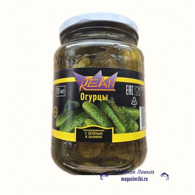 Огурцы маринованные (REAN) с зеленью (6-9 см) в заливке, 720 мл.