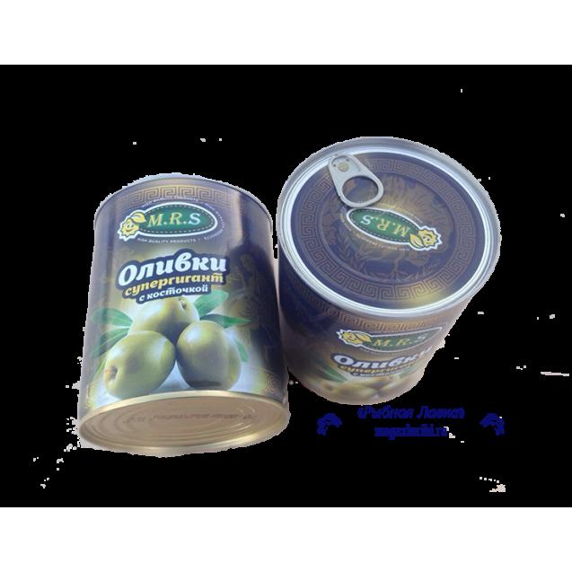 Оливки супергигант с косточкой (ключ), Греция, 850 мл