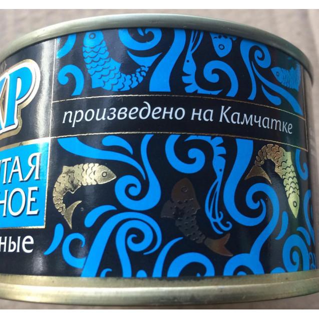 Печень и икра минтая натуральные, ассорти деликатесное, ключ, Устькамчатрыба, Камчатка, 227 гр.