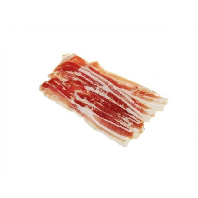 """Грудинка свиная (бекон) бескостная """"Люкс"""", сырокопченая, замороженная, нарезка в вакууме, Россия, 0,5 кг"""