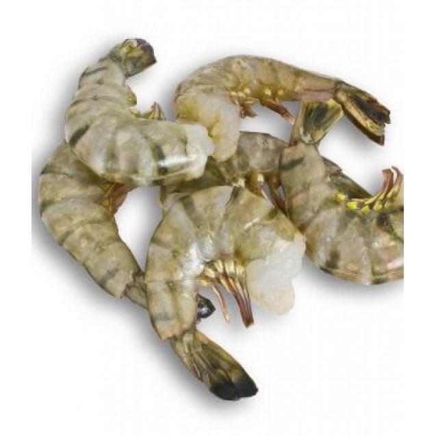 Креветка королевская сыромороженая, без головы, 41/50, без льда, Индия, 1 кг