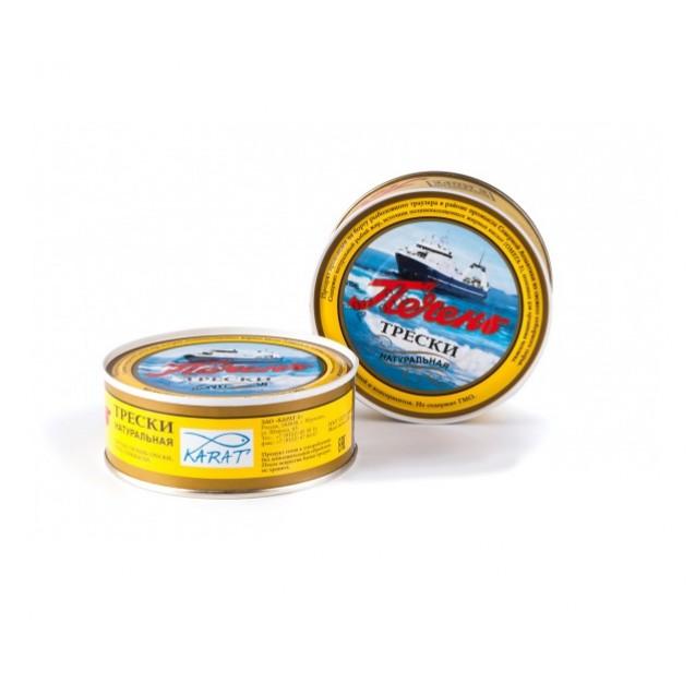 Печень трески натуральная (Карат) изготовлено в море, Мурманск, 230 гр.